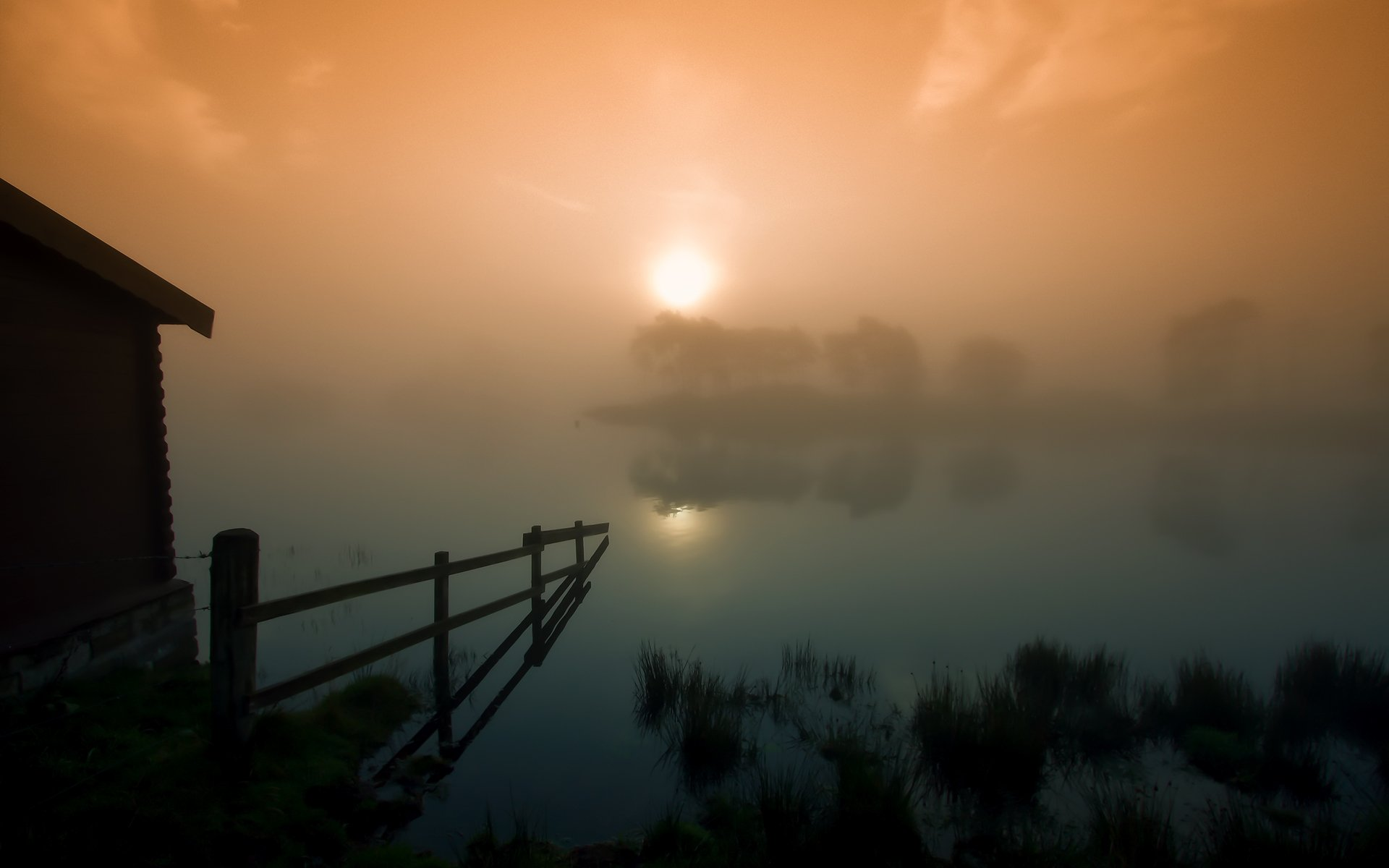 озеро закат забор тучи без смс