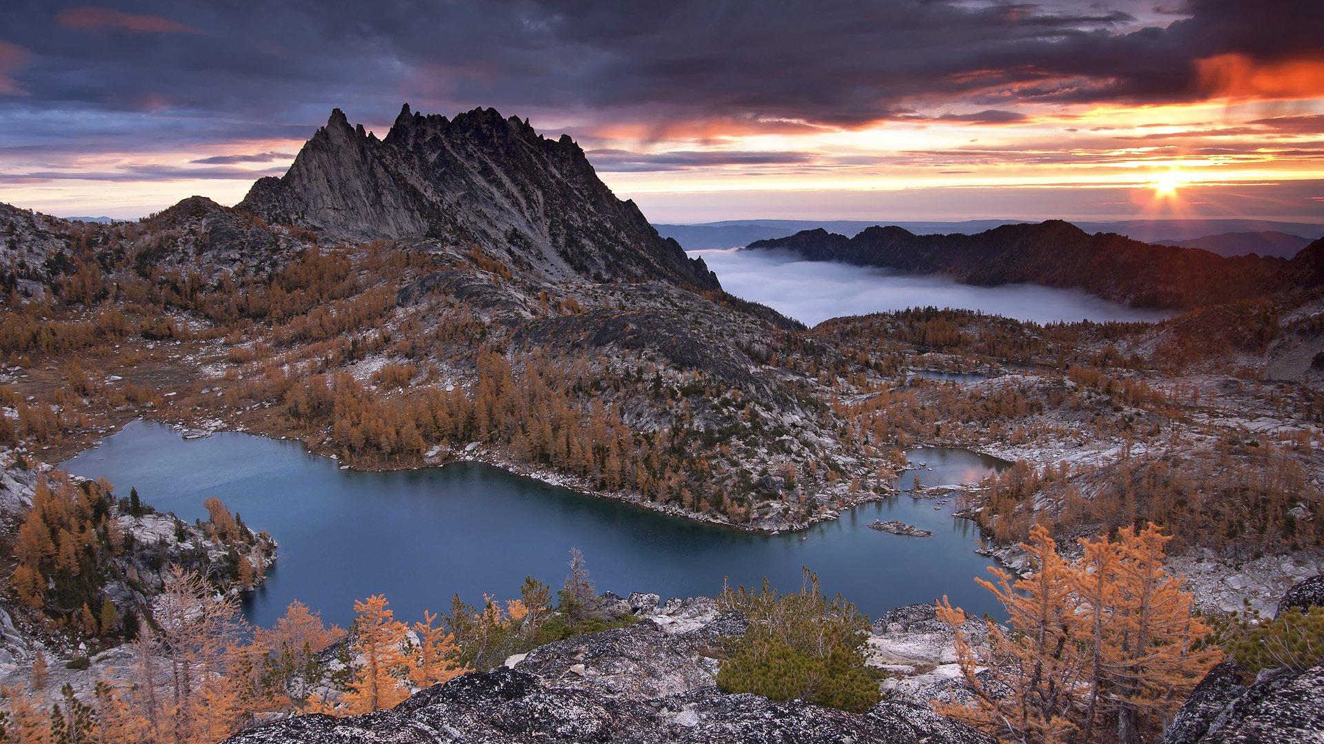 горы озеро деревья закат бесплатно