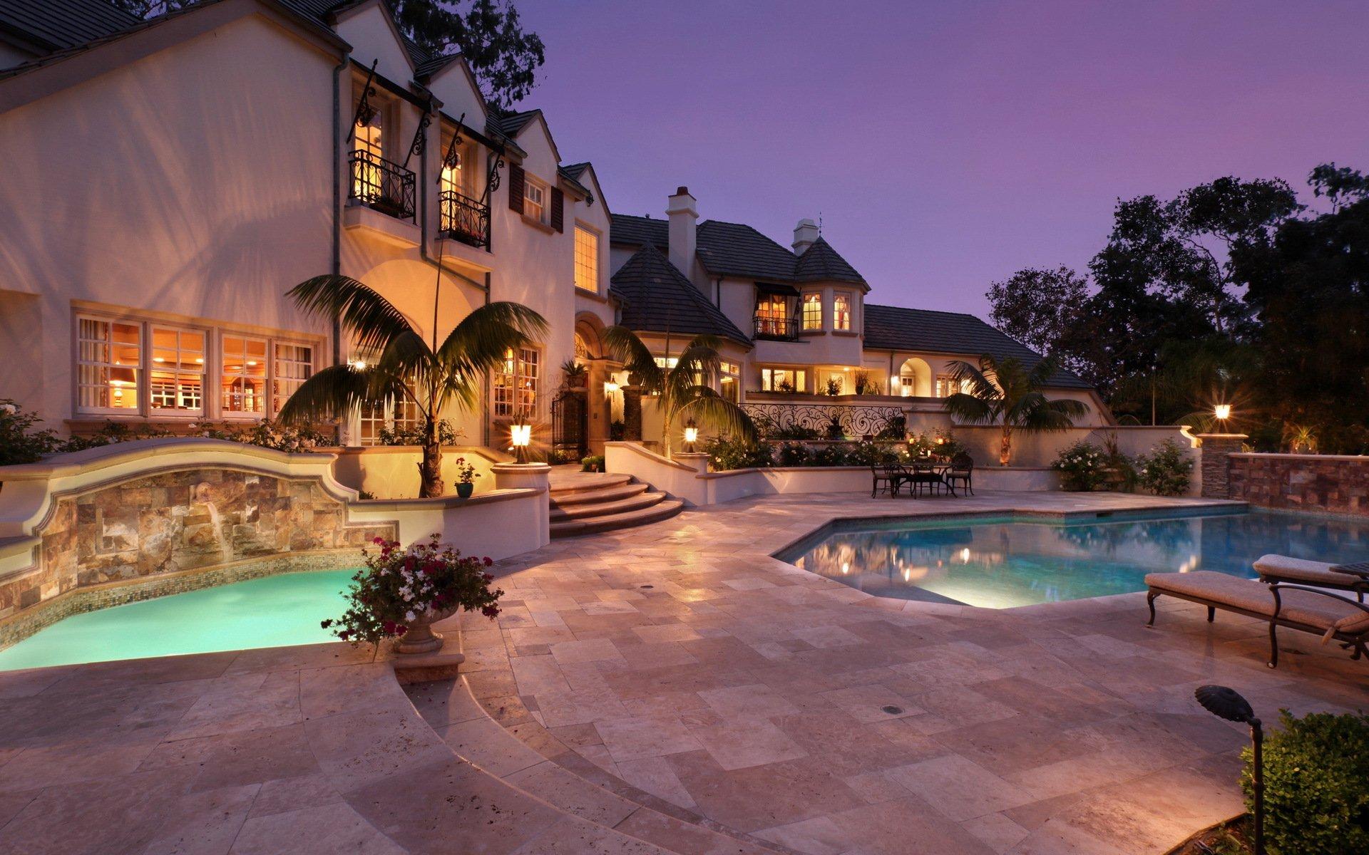 Обои бассейн, дизайн, ночь, особняк. Города foto 8
