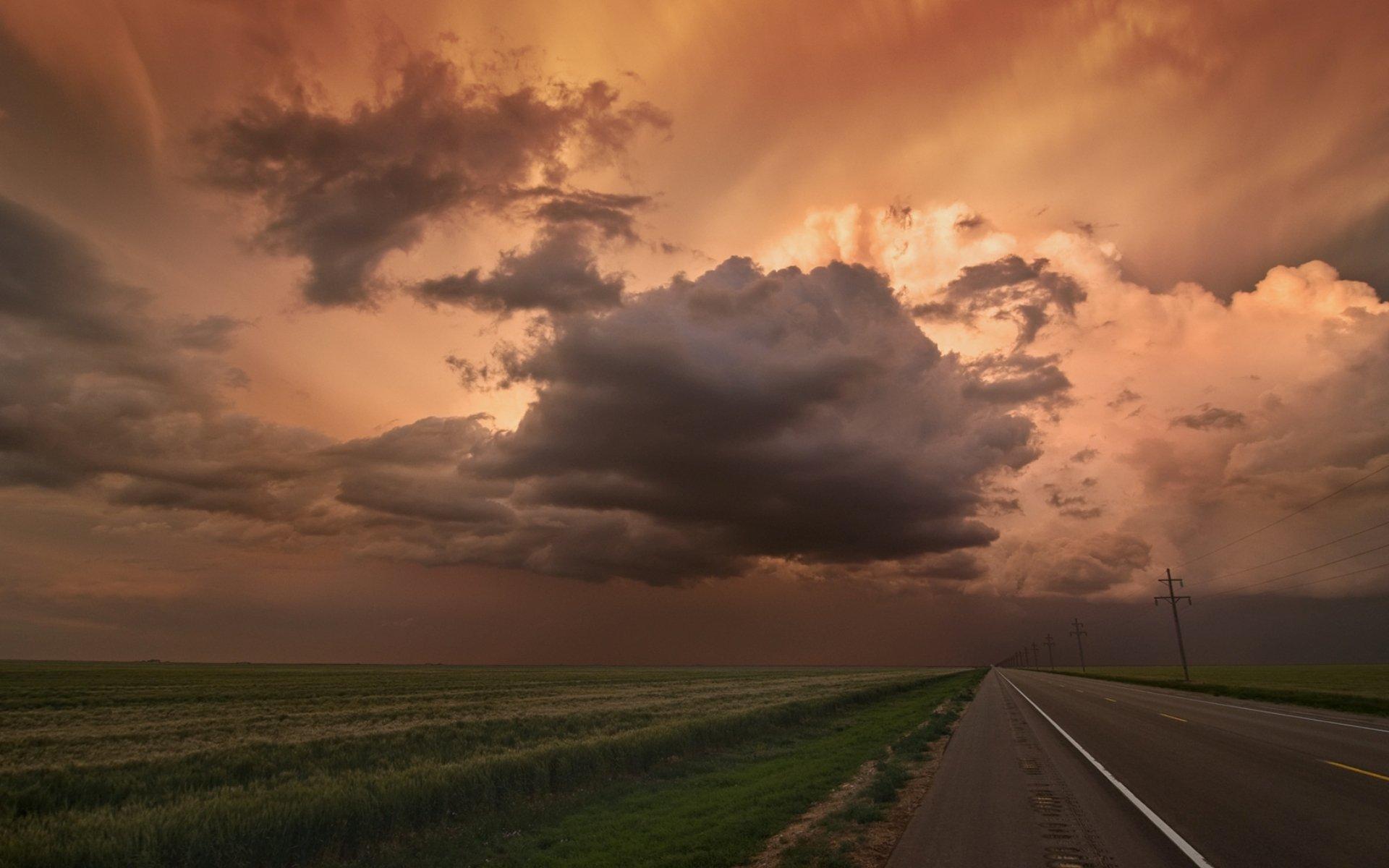 дорога поле закат облака небо скачать