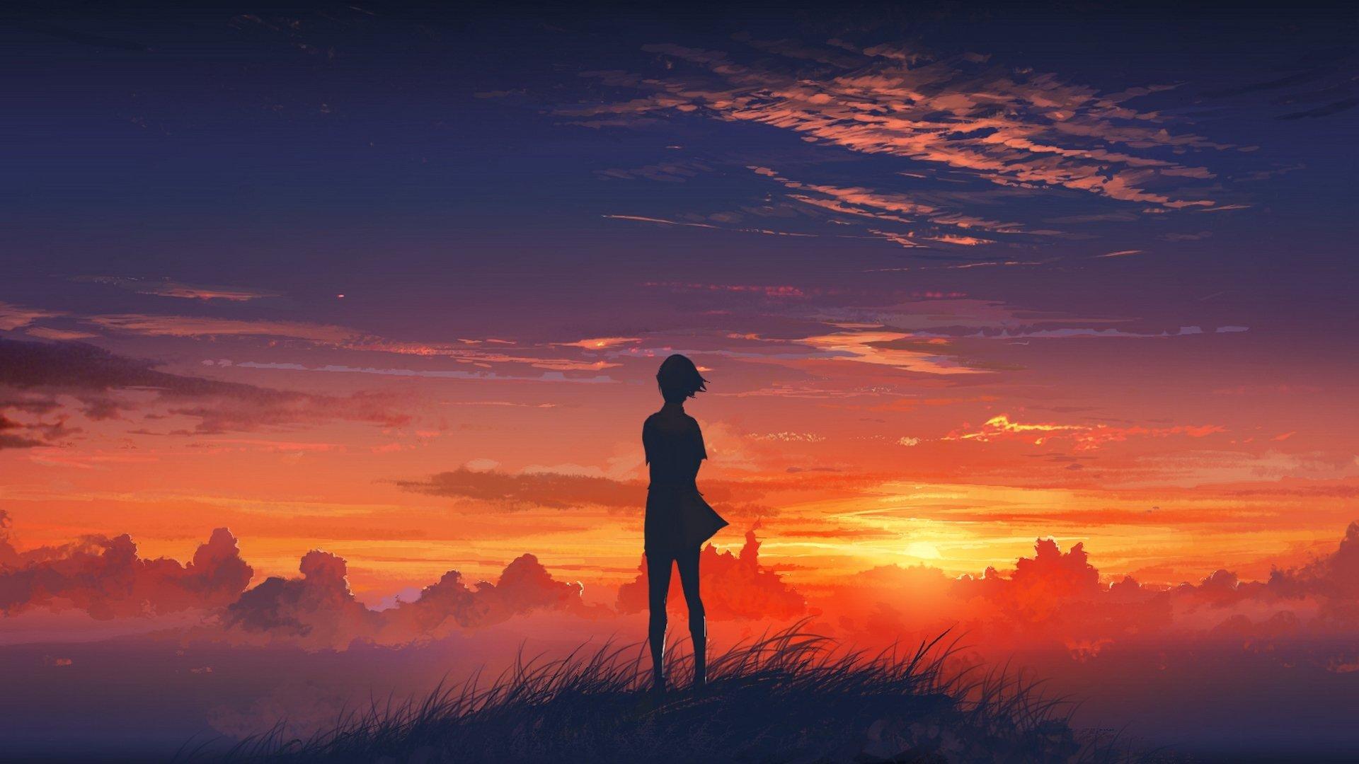Девушка на фоне закат фото