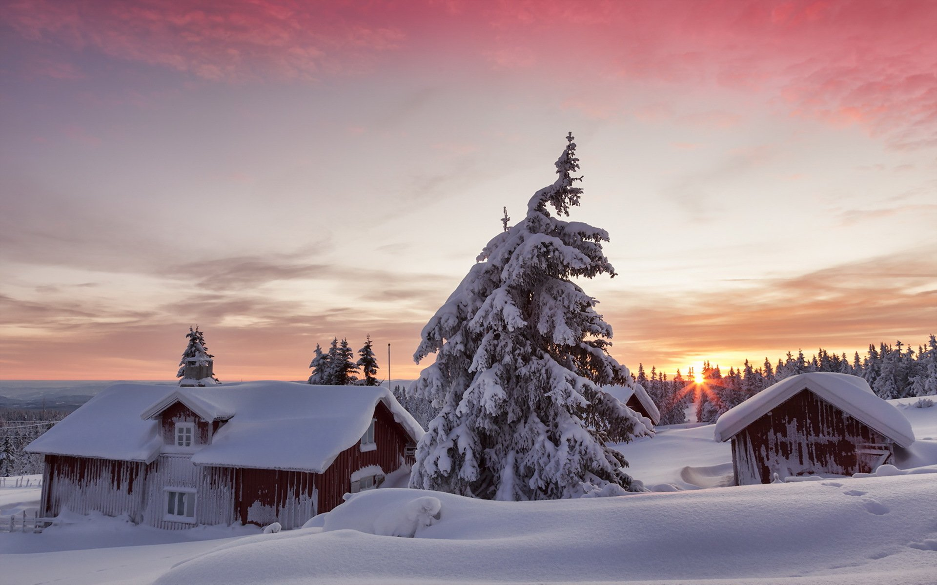 обои на рабочий стол русская зима в деревне дома создают