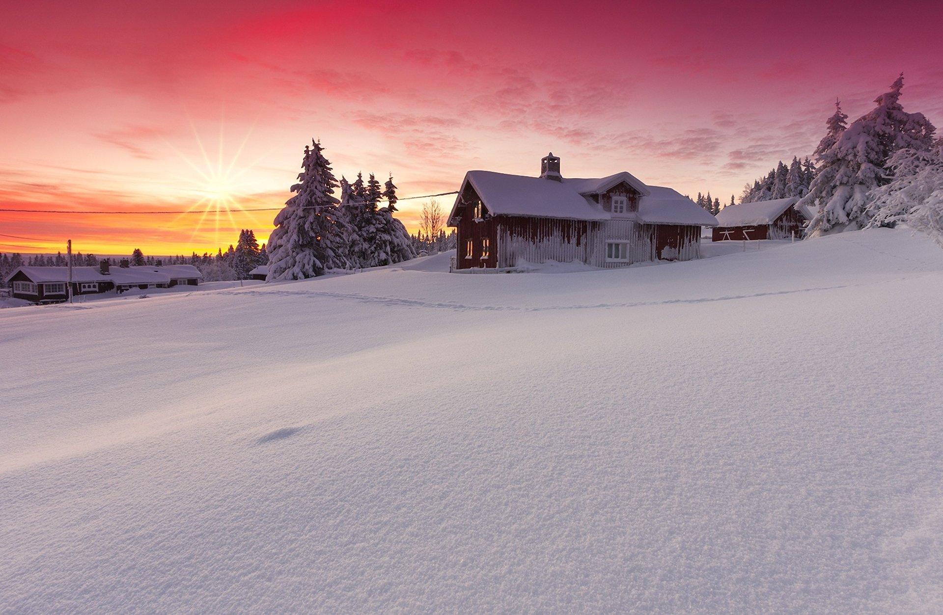снег зима деревня рассвет  № 2479317  скачать