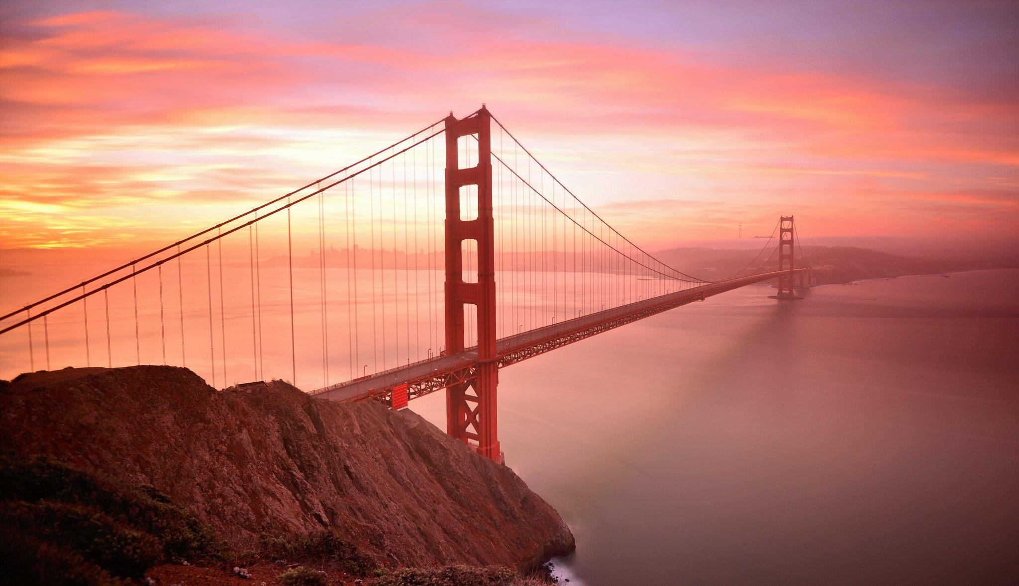 мост на красном закате скачать