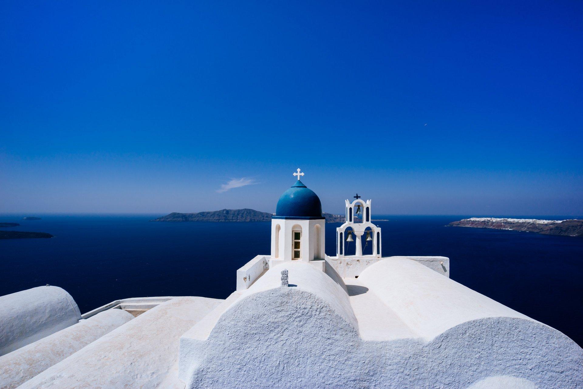 Обои греция, церковь, Облака, Облака, купол. Города foto 13
