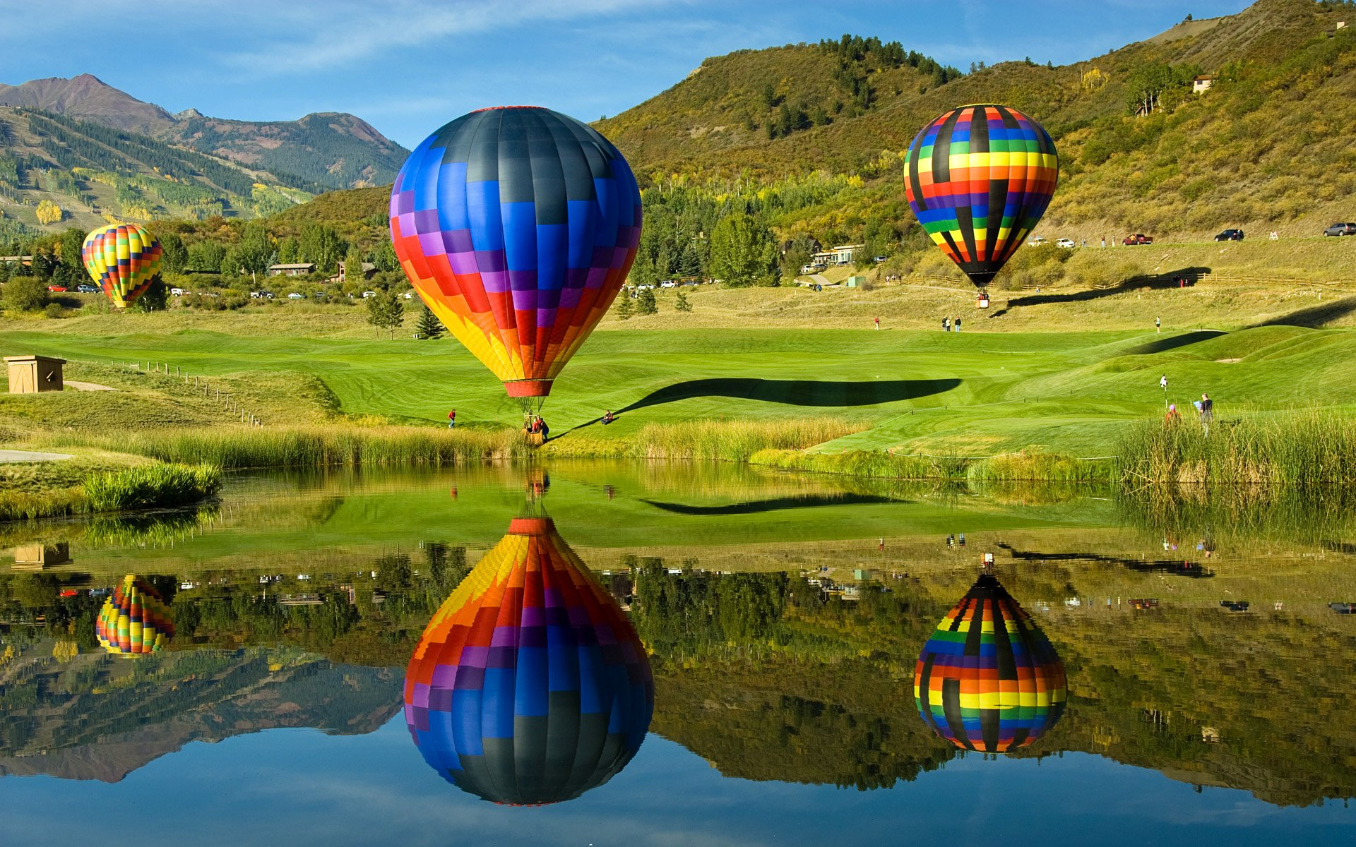 природа деревья архитектура мост воздушные шары аэростаты nature trees architecture the bridge air balls balloons  № 2627689 без смс