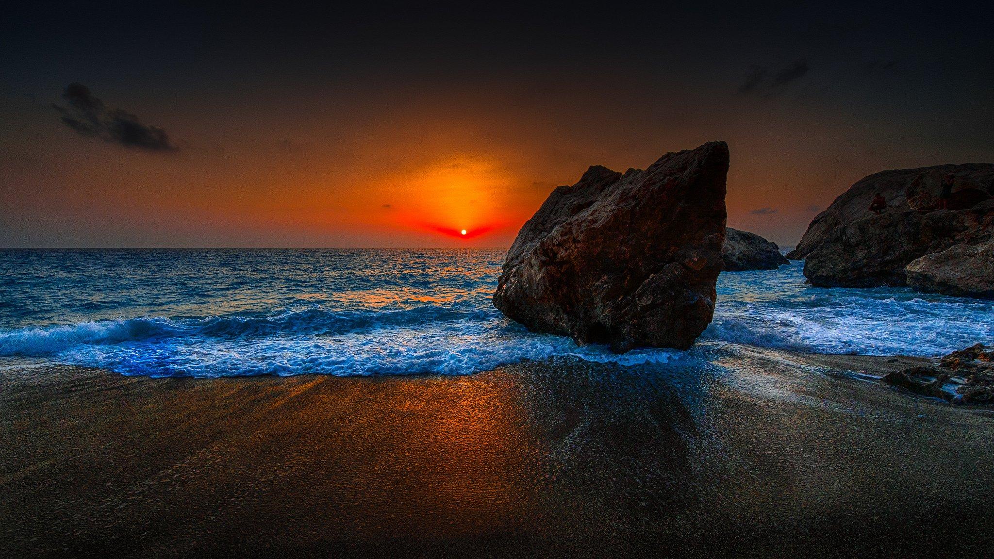 природа скалы море солнце облака отражение онлайн