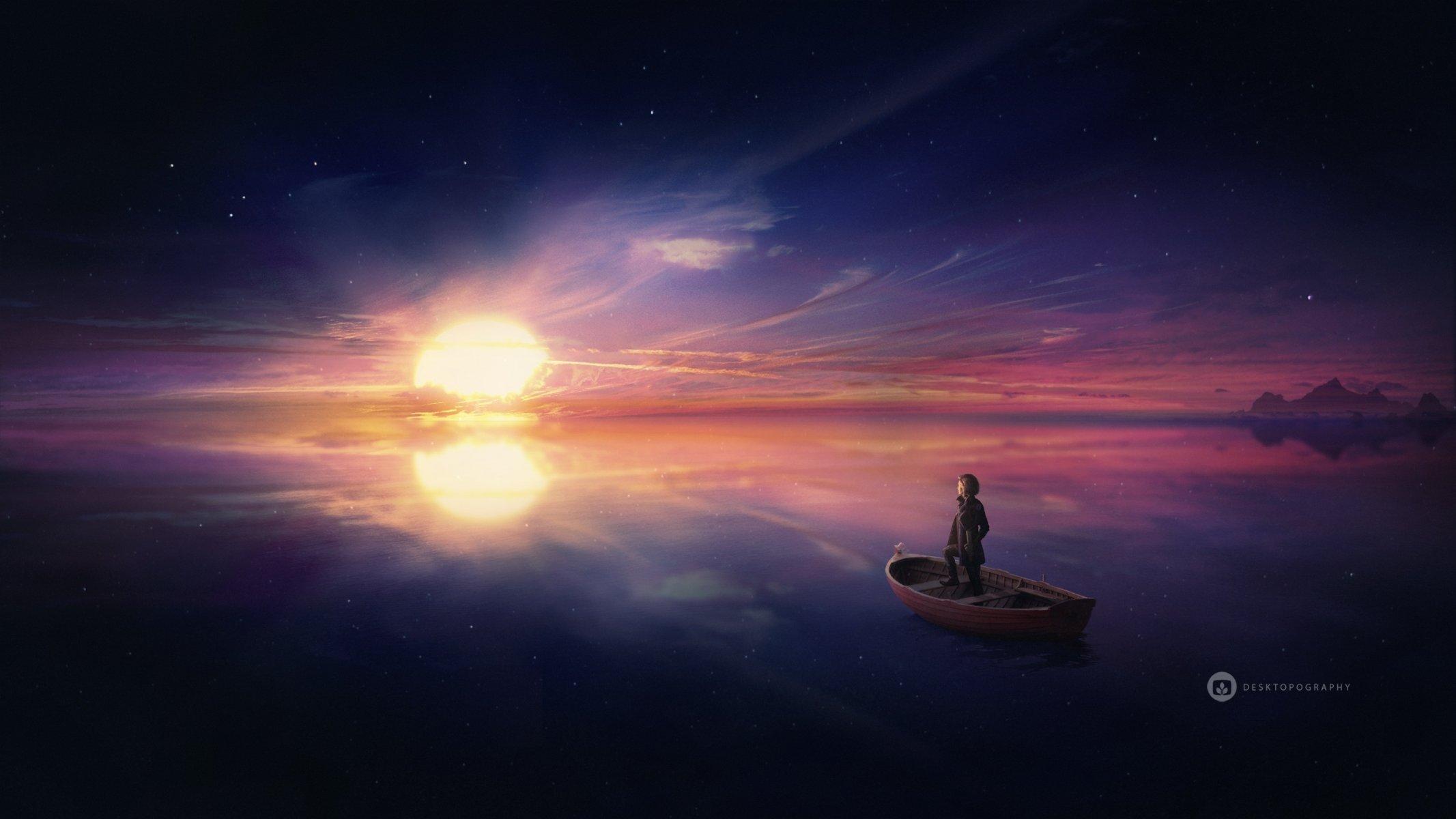 Обои рисунок, Вода, лодки, ночь, свет. Разное foto 13