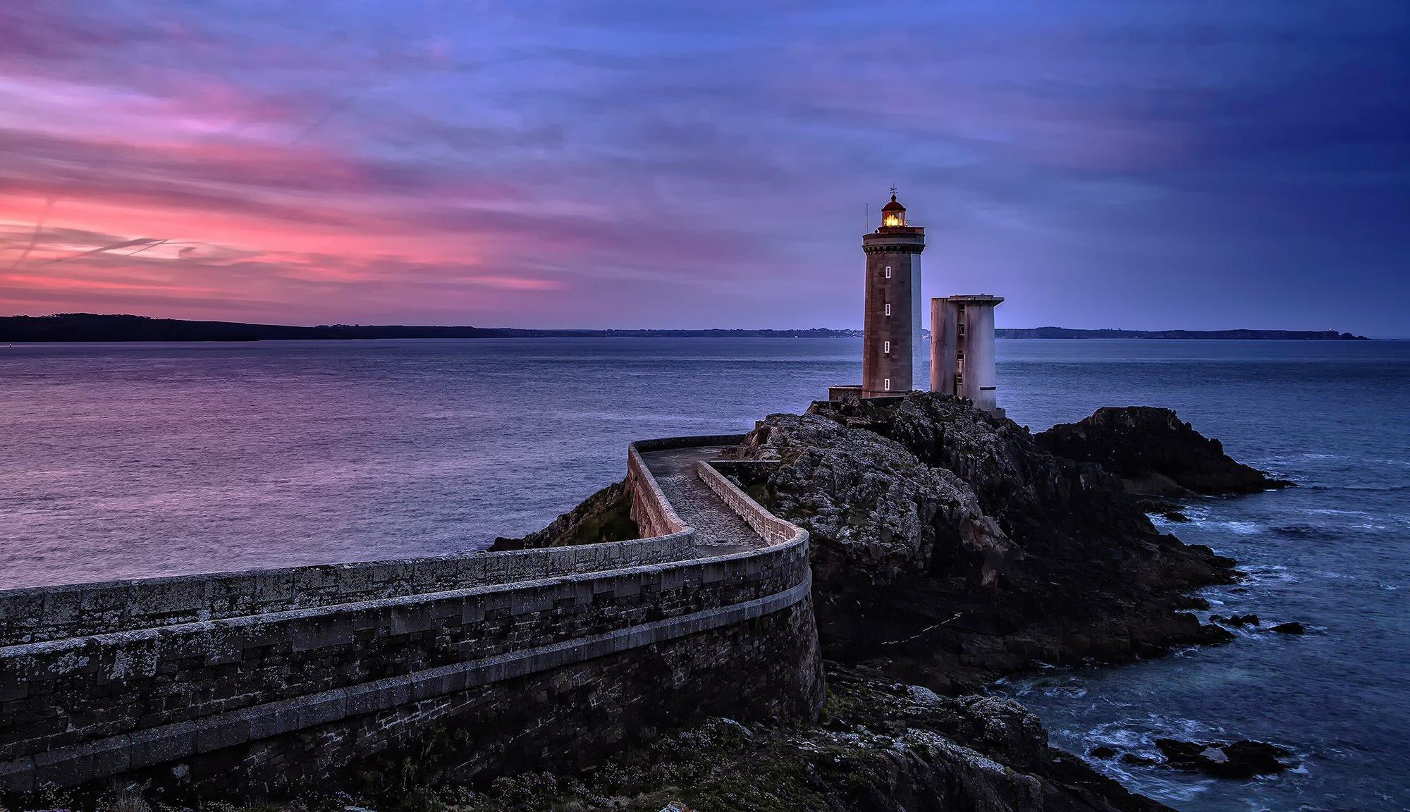 закат маяк море  № 1019906  скачать