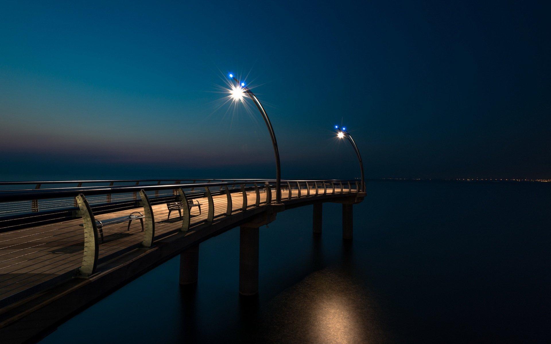 мост огни свечение ночь  № 3369571 загрузить