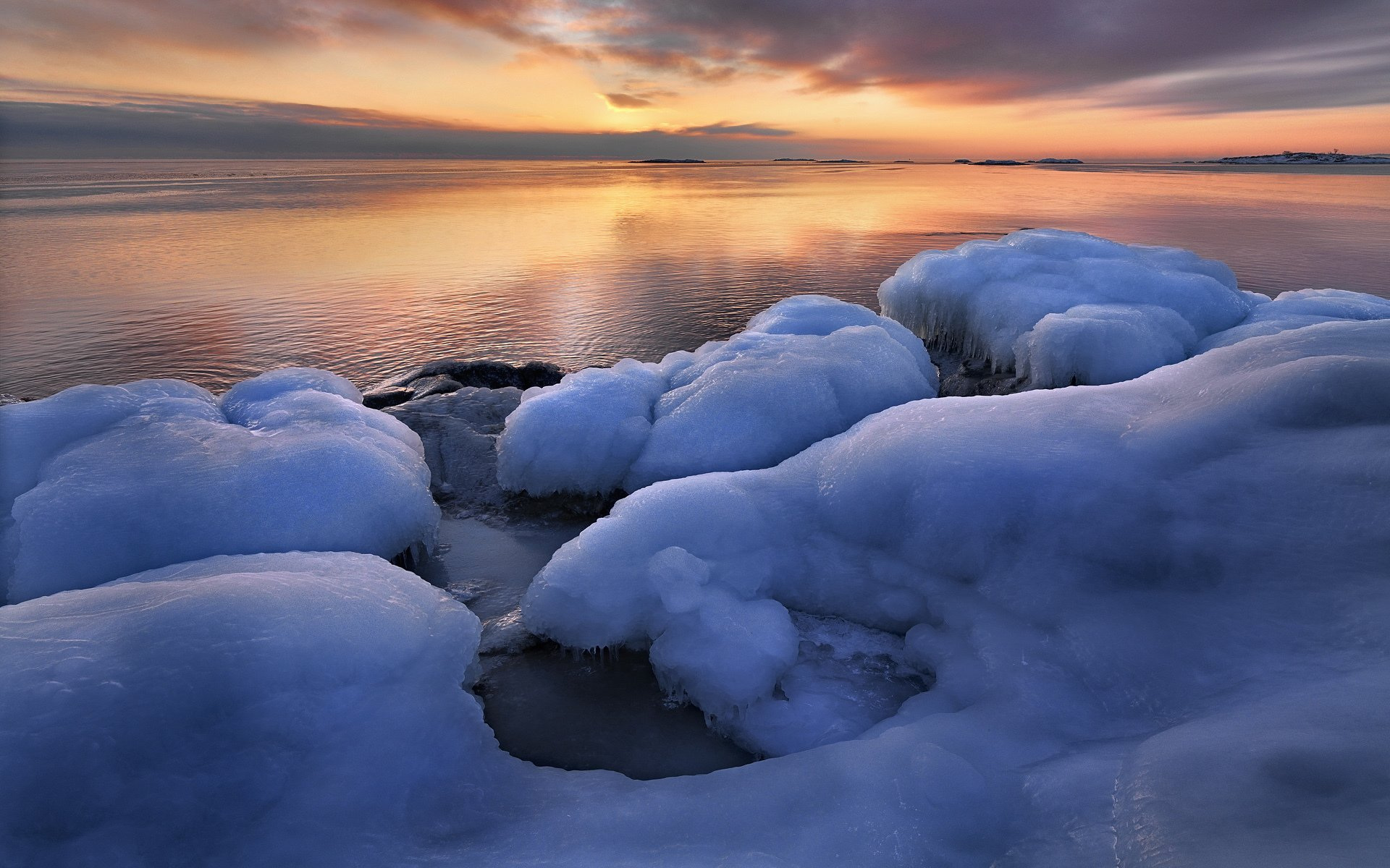 природа водопад снег небо облака зима без смс